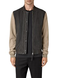Allsaints Avon Leather Bomber Jacket Steel Blue Shale