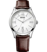 Hugo Boss 1513021 Ambassador Watch With Leather Strap Silver