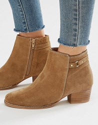 Oasis Sally Strap Short Boot Suede Tan