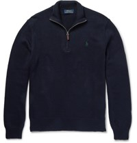 Polo Ralph Lauren Cotton Half Zip Sweater Navy