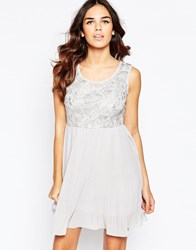 Pussycat London Dress With Pleated Skirt And Lace Top Grey