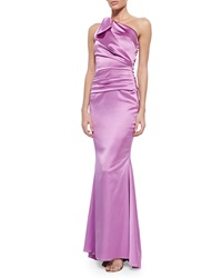 Talbot Runhof Bondi One Shoulder Ruched Gown Pink
