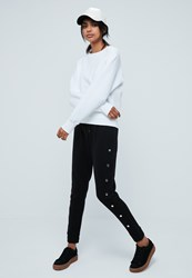 Missguided Black Popper Side Joggers