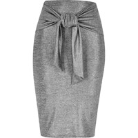 River Island Womens Silver Tied Waist Pencil Skirt