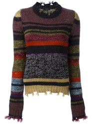 Etro Chunky Knit Sweater Pink And Purple