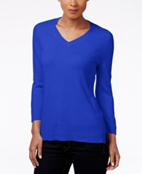 Karen Scott Petite V Neck Sweater Only At Macy's Deep Pacific