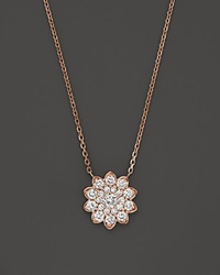 Bloomingdale's Diamond Cluster Flower Pendant Necklace In 14K Rose Gold .65 Ct. T.W. Pink