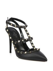 Valentino Noir Rockstud Leather Slingbacks Black