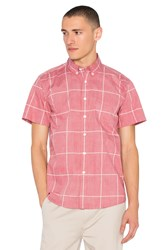 Saturdays Surf Nyc Esquina Reverse Print S S Button Down Red