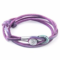 Anchor And Crew Grape Purple Dundee Leather Bracelet Pink Purple