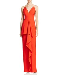 Jarlo Ruffle Front Column Gown Red
