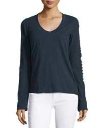 James Perse Long Sleeve V Neck Graphic T Shirt Deep Nav