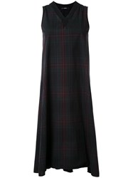 Assin Plaid Sleeveless Dress Black