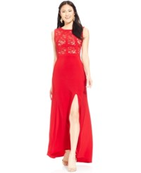 Morgan And Company Juniors' Glitter Lace Side Slit Bandage Dress Red Nude