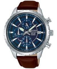 Pulsar Men's Solar Chronograph Brown Leather Strap Watch 44Mm Pz6015