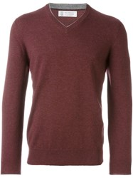 Brunello Cucinelli V Neck Jumper Red