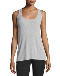 Michael Kors Collection Scoop Neck Racerback Tank Pearl Gray Women's Size M Pearl Grey