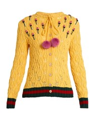 Gucci Rose Embroidered Mink Pompom Crochet Cardigan Yellow