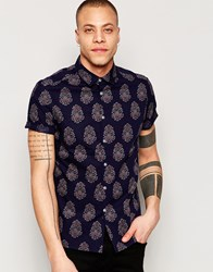 Asos Shirt With Batik Style Print In Short Sleeve Navy
