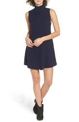 Cotton Emporium Women's Mock Neck Rib Knit Sweater Dress Sail Navy