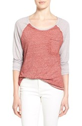 Women's Treasure And Bond Patch Pocket Baseball Tee Red Cranberry Combo