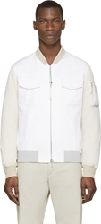 Cnc Costume National White And Beige Bomber Jacket