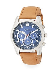 English Laundry Stainless Steel Chronograph Tan Leather Strap Watch