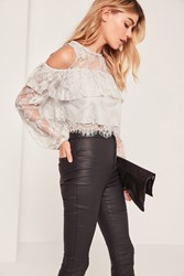 Missguided Grey Lace Overlay Crop Top