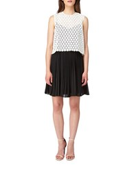Erin Fetherston Caprice Pleated Chiffon Dress Ivory Black
