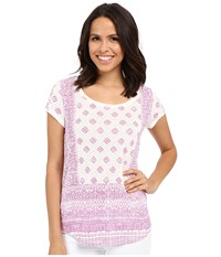 Lucky Brand Aztec Print Tee Pink Multi Women's Short Sleeve Pullover