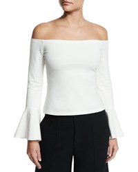 Alexis Lindes Off The Shoulder Bell Sleeve Top White