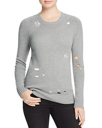 Aqua Cashmere Distressed Crewneck Cashmere Sweater Light Grey