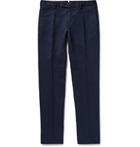 Incotex Chinolino Slim Fit Linen And Cotton Blend Twill Trousers Blue