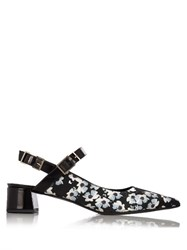 Erdem Aerina Rose Print Satin Pumps Black White