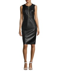 Calvin Klein Faux Leather Sheath Dress Black