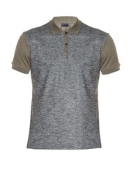 Lanvin Bi Colour Polo Shirt Grey Multi