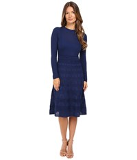 M Missoni Solid Crew Neck Long Sleeve Mid Length Dress Navy Women's Dress