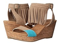 Minnetonka Poppy Taupe Suede Color Block Patches Women's Wedge Shoes Brown