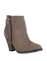 Mia Finnegan Suede Tassel Ankle Boots Taupe