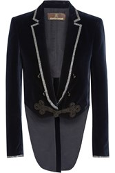 Roberto Cavalli Cropped Embellished Velvet Jacket Midnight Blue