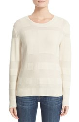 Burberry Women's 'Deel' Check Knit Wool And Cashmere Sweater Natural White