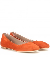 Chloe Lauren Suede Ballerinas Orange