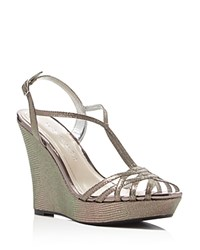 Caparros Bristol Metallic Lizard Embossed Platform Wedge Sandals Mushroom