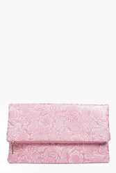 Boohoo Paisley Embossed Fold Over Clutch Bag Blush