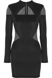 Balmain Tulle Paneled Stretch Jersey Mini Dress Black
