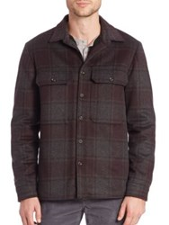 Vince Plaid Wool Blend Jacket Heather Charcoal
