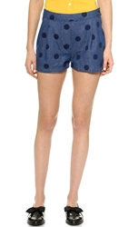 Band Of Outsiders Denim Dot Side Button Shorts Indigo