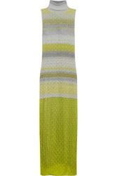 Missoni Crochet Knit Turtleneck Maxi Dress Green
