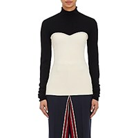 Cedric Charlier Women's Layered Look Mock Turtleneck Top Black Blue Black Blue