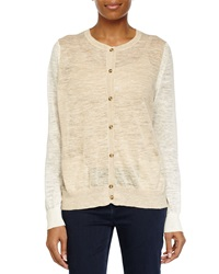 Halston Heritage Sheer Button Up Sweater Linen White Heath
